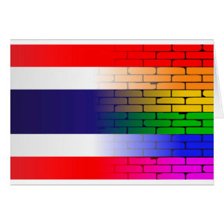 Gay Rainbow Wall Thai Flag Card