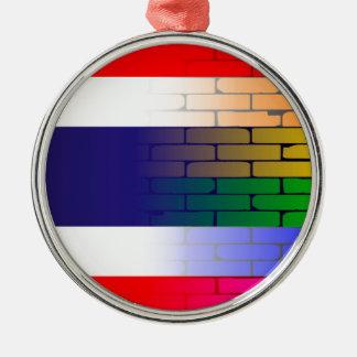 Gay Rainbow Wall Thai Flag Silver-Colored Round Ornament