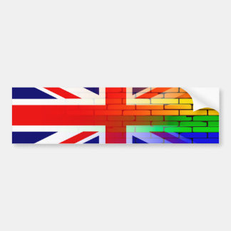 Gay Rainbow Wall Union Jack Bumper Sticker