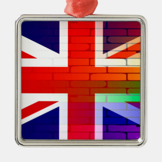 Gay Rainbow Wall Union Jack Silver-Colored Square Ornament