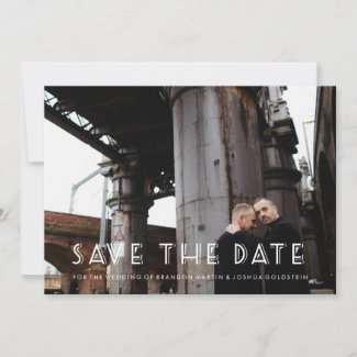 Gay Retro Art Deco Save the Date Photo Card