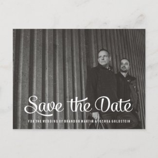 Gay Retro Save the Date Photo Post Card