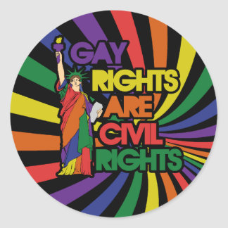 Gay rights are civil rights round sticker