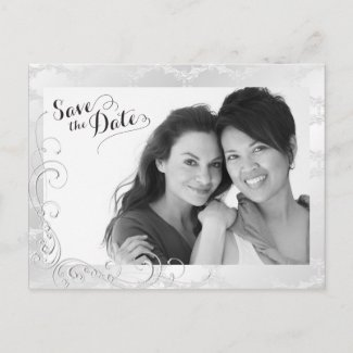 Gay Silver Damask Wedding Photo Save the Date Announcement Postcard