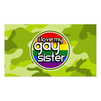 Gay Sister; bright green camo, camouflage Business Card Templates