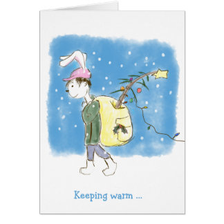 Gay themed Christmas Rabbit with tree Card