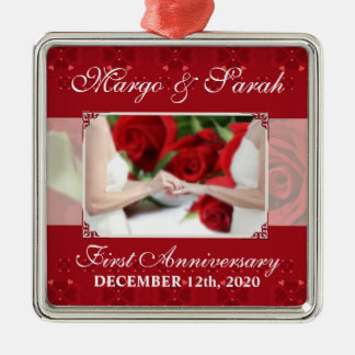 Gay Wedding 1st Anniversary Red Roses Silver-Colored Square Ornament