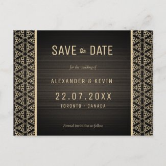 Gay wedding brown Save the Date Announcement Postcard