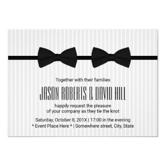 "Gay Wedding Double Bow Ties Classic 5"" X 7"" Invitation Card"