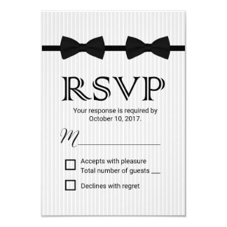 """Gay Wedding Double Bow Ties Classic RSVP 3.5"""" X 5"""" Invitation Card"""