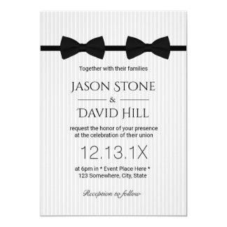 "Gay Wedding Double Bow Ties Classic Wedding 5"" X 7"" Invitation Card"