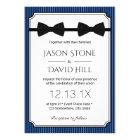 Gay Wedding Double Bow Ties Classy Navy Blue Card
