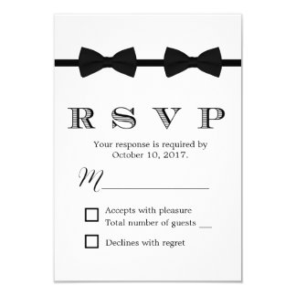 Gay Wedding Double Bow Ties Minimalist RSVP Card