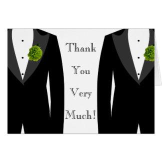 Gay Wedding Green Carnation Grooms' Thank You Card