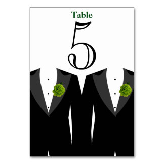 Gay Wedding Green Carnation Table Number Card Table Cards