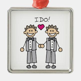 Gay Wedding Groom Metal Ornament