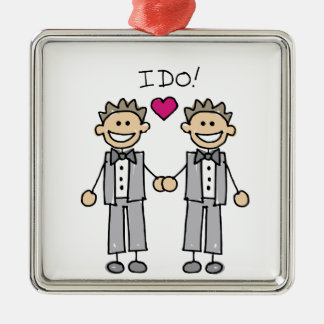 Gay Wedding Groom Silver-Colored Square Ornament