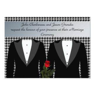 Gay Wedding Invitation Tuxedos Red Rose