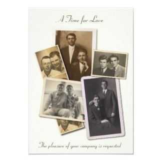 Gay wedding invitation with vintage portraits