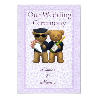 Gay Wedding Order of Service  Teddy Bears couple Card