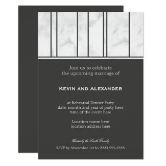 Gay Wedding Rehearsal Dinner Marble Invitation