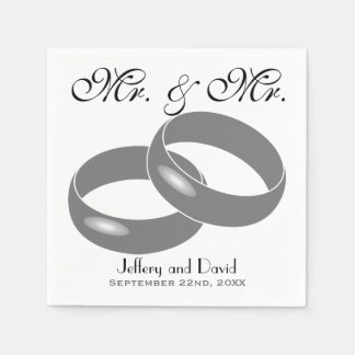 Gay Wedding Rings Personalized Wedding Disposable Napkin