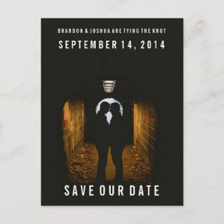 Gay Wedding Save the Date Bold Photo Post Card