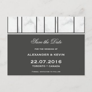 Gay wedding Save the Date ı Marble Postcard