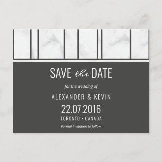 Gay wedding Save the Date Marble Announcement Postcard