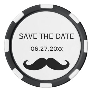 Gay Wedding Save The Date Poker Chips Moustache