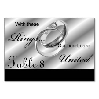 Gay Wedding Silver Rings Table Numbers Table Card