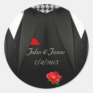 Gay Wedding Sticker Grooms in  Tuxedo