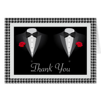 Gay Wedding Thank You Card with Two Tuxedos