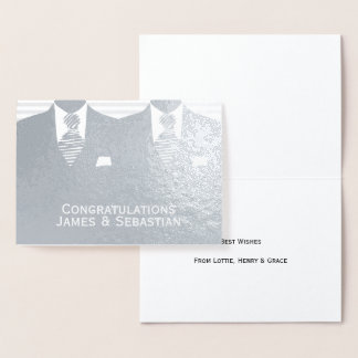 Gay Wedding Two Grooms Congratulations Foil Card
