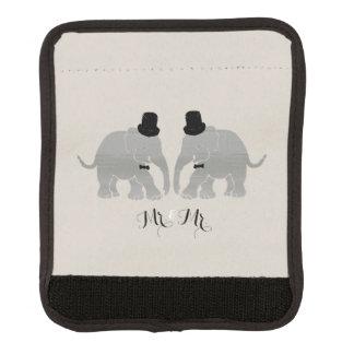 Gay Wedding Vintage Mr. & Mr. Two Groom Elephants Luggage Handle Wrap