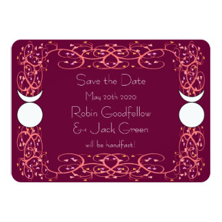 "Gay Wiccan Wedding Red Save the Date Card 4.5"" X 6.25"" Invitation Card"