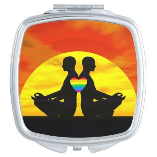 Gay yoga love - 3D render Compact Mirrors