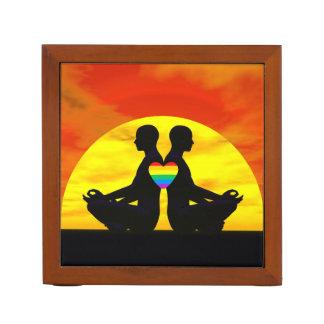 Gay yoga love - 3D render Desk Organizer