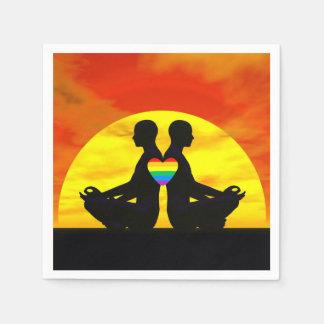 Gay yoga love - 3D render Disposable Napkins