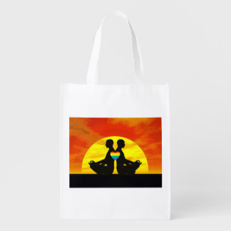 Gay yoga love - 3D render Reusable Grocery Bag