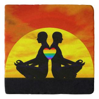 Gay yoga love - 3D render Trivet