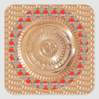 GAYATRI Mantra n OmMantra Symbol Embossed GOLD Square Sticker
