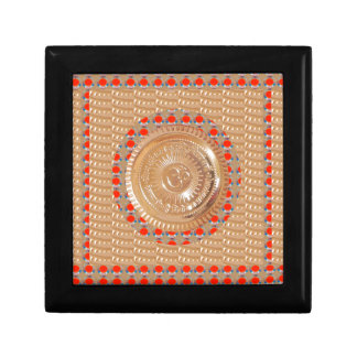 GAYATRI Mantra n OmMantra Symbol Embossed GOLD Trinket Boxes