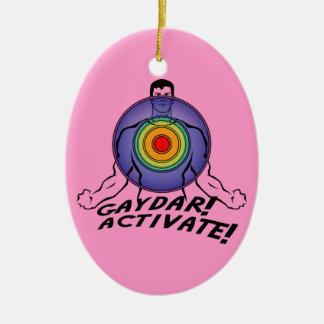 Gaydar! Activate! Rainbow Gay Ceramic Oval Ornament