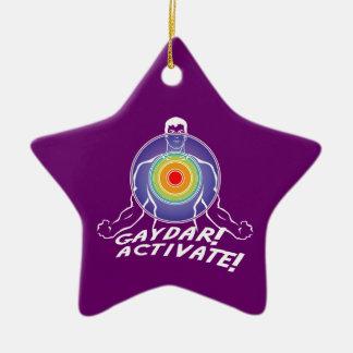 Gaydar! Activate! Rainbow Gay Ceramic Star Ornament