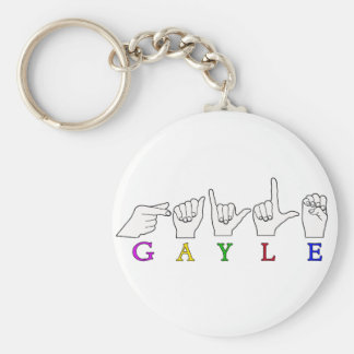 GAYLE NAME ASL FINGER SPELLED FEMALE BASIC ROUND BUTTON KEYCHAIN
