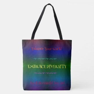 #Gaypride Modern Rainbow Embracing Diversity Tote Bag