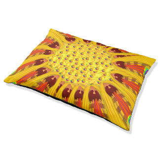 Gazania Flower Tribal Peacock Pet Bed