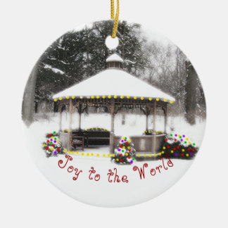 GAZEBO IN SNOW COVERED WOODS/JOY TO THE WORLD ORNA CERAMIC ORNAMENT