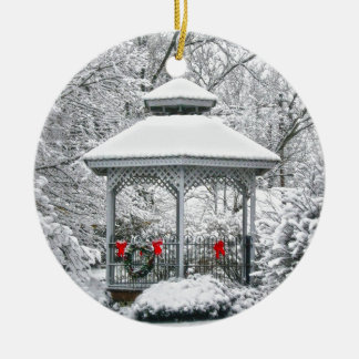 Gazebo in the Snow Ceramic Ornament